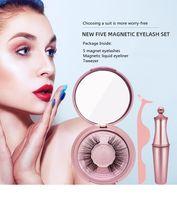 Le più recenti ciglia magnetiche Le ciglia False + Eyeliner liquido + Tweezer Eye Makeup Set 3D Magnete False Ciglia Naturale Riutilizzabile Nessuna colla necessaria