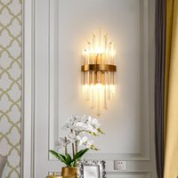 2021 Nordic Post-Modern Crystal Wall Sconce Mnimalist Golden Luxury Bedroom Bedside Lamp Living Room TV Background Wall Light