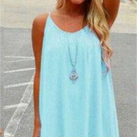عارضة dresseswomen مثير فضفاضة السباغيتي حزام اللباس الشاطئ بوهو اللباس الصيف مشرق اللون أكمام الشيفون البسيطة اللباس المرأة الملابس زائد الحجم S-5XL_Good