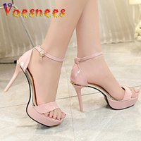 Sandals Summer Platform Thick Heel Simple Design One Word Buckle Women Shoes Open Toe 12CM Super High Heels Pink Fairy