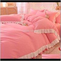 Supplies Textiles Home & Gardenprincess Room Solid Color 4Pcs Luxury Cotton Bedding Set Queen King Size Pink Duvet Er Bed Sheet Pillowcase Se