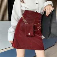 Skirts Women PU Leather Skirt Fashion Streetwear Casual Office Work Wear Pencil High Waist A-line With Chain Belt Bag
