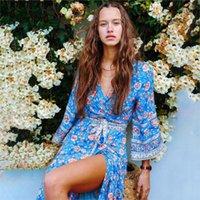 Jastie espagnol rose wrap robe femmes femmes 3/4 manches décontractées longues robes d'automne hippie chic plage boho maxi femmes vestidos