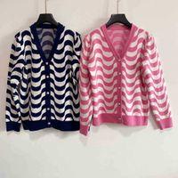 Women cc designer winter sweaters hoodies cchen Knit cardigan wool brand girls tops knitting hooded sweatshirt wave pattern sleeve womens