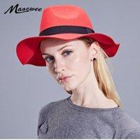 Maocwee Unisex Yün Fedoras Şerit Çizgili Şerit Ile Avrupa ABD Erkek Kadın Caz Keçe Tilbile Kap Örgün Parti Panama Şapkalar Geniş Ağız