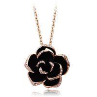 Merk camellia ontwerp hanger mode vrouwen goud-kleur zwart schilderij rose bloem ketting voor bruiloft kettingen