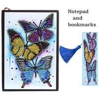 Diamond Painting Bookmark and Notebook Set 5D DIY DIY Forma especial en forma de diamante Mosaico de cuero de cuero de cuero Marcas de libro