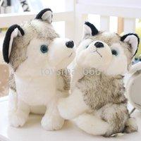Komik Husky Köpek Peluş Oyuncaklar Dolması Sevimli Siyah Ve Beyaz Hayvanlar Hobiler 18 cm Artı Kırmızı Dipler