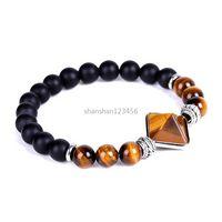 Yoga Chakra Natural StonePyramid BraceletAmethyst Tiger Eye Rose Quartz Bead Strand Bracelets Women Men Fashion Jewelry Will and Sandy