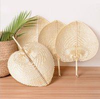 120pcs Party Favor Palm Leaves Fans Handmade Wicker Natural Color Palm-Fan Traditional Chinese Craft Wedding Gifts