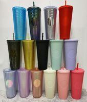 700 ملليلتر شخصية ستاربكس قزحي الألوان 24 بلينغ قوس قزح يونيكورن رصع كأس الباردة بهلوان القهوة القدح مع سترو FY4488