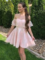 Sweetheart Lace Homecoming Dresses Off Shoulder Zipper Back Gradaution Party Gowns A Line Short Prom Club Girls' Cocktail Wear