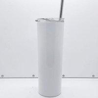 SUBLIMATION DE 20OZ SUBLIMATION Skinny Tumblers Straight Tumblers avec paille de paille Brosse et en acier inoxydable en acier inoxydable portable
