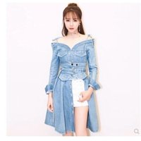 Nuevo diseño de moda mujer sexy casual vendaje fuera del hombro manga larga mezclilla jeans a-line SINE SINE PECHO Vestido de cintura alta S M L XL