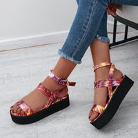 Dress Shoes Summer Women Flat Sandals Bohemian Ethnic Print Gladiator Beach Open Toe Platform Buckle Strap Roman Ladies