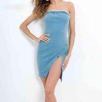 النساء ميدي جينز تنورة الكورية نمط الصيف حمالة الجانب الكتف الشق مثير الدنيم تنورة غير النظامية زر سبليت تنورة
