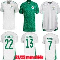 Cezayir 2021 Ev ve Uzaktan Yeşil Futbol Formaları Mahrez Feghouli Bennacer Atal 20 21 Cezayir Futbol Takım Gömlek Erkekler + Çocuklar Maillot De Ayak Setleri