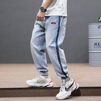 Mode Streetwear Hommes Jeans Clair Bleu Side Stripe Designer Loose Fit Denim Cargo Pantalons de cargaison Slack Bas Hip Hop Joggers Hommes