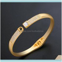 Bangle Bracelets Jewelrydesigners Jewelry Inlaid With Diamond And Zircon Split Temperament Simple Personality Bracelet Brb26 Drop Delivery 2