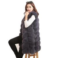 Luxury Real Fur Vest Waistcoat Autumn Winter Genuine Women Gilet Outerwear Coats Lady Overcoat LF5032 Women's & Faux