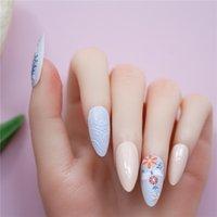 24pcs Almond Fake Nails Patch 6 Styles 3D Detachable False Fingernails Press on Full Cover DIY Nail Art Tips Manicure