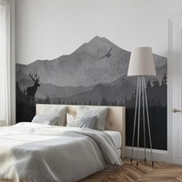 Wallpapers 99.49x55.12inch Gray Forest Deers Scenery Bedroom Wall Waterproof Easy-To-Clean Fine Grain Cloth Background Decoration Sticker