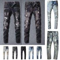 Mens Designer Jeans Distressed Ripped Biker Slim Fit Motorcycle Biker Denim For Men s Fashion Mans Black Pants pour hommes 2021