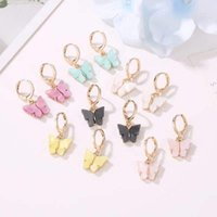 necklace Ese and Korean Sweet Butterfly Earrings Acrylic Color Women's Versatile Personality Trendsetter Nelace Set