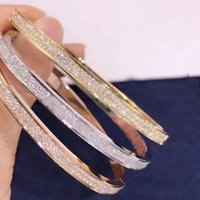 Bracelet d'amour classique de haute qualité, double rangée de diamants brillants, luxueux design créatif, bijoux de brassard minimaliste et polyvalent