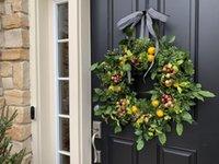 Flores decorativas decoración para el hogar verano limón rojo fruta guirnalda simulación corona americana pastoral jardín decoración