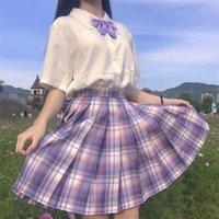 Skirts 2021 Summer Korean High Waist Pleated Gothic Sexy Cute Mini Plaid Skirt Women JK Uniform Students Clothes