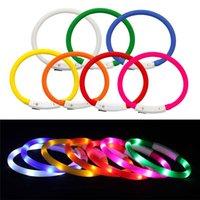 Collars USB 충전식 빛나는 애완 동물 칼라 LED 빛 빛나는 플래시 안전 제품 가죽 끈 HDD0175