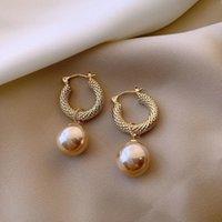 Dangle & Chandelier 2021 Korean Simple Vintage Simulated-pearl Earrings For Women Elegant Fashion Water Drop Pendant Jewelry