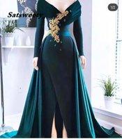 Modest Design Off the Shoulder Evening Dress Beaded Crystals Sheath Long Sleeve Dark Green Prom Dresses with Overskirt
