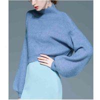 Women's T-Shirt Lamtrip Factory Quality Lantern Sleeve Solid Korean Elegant Feminine Short Fashion 2021 Spring Pullover Sweaters O