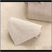 Napkin 12Pcs Linen Natural Table Napkins Beautiful Hemstitched Cloth 45X45Cm177X177 Y0F0P E0Obz