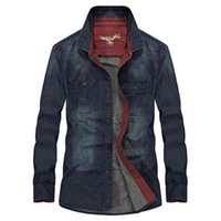 Vinrumika Spring Hommes Casual Brand 100% Coton Cowboy Chemises automne Homme Plus Taille M-4XL Denim Denim Bleu Chemise à manches longues 210410