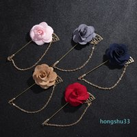 Alloy Electroplate Rose Leaf Brooches Man Suit Overcoat Cloth Pin Buckle Gold Plated Chain Brooch Artificial Flower Party Accessories 1kx P2