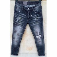 dsquared2 dsq d2 Mens Ripas Esticão Calças De Jeans Preto Moda Fit Magro Lavado Motoscópio Denim Calças Paneladas Hip Hop Calças Hjhj2