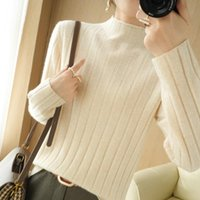 Women's Sweaters 2021 Autumn And Winter Pure Wool Sweater Long-sleeved Color Wild Thin Bottoming Shirt Pullover