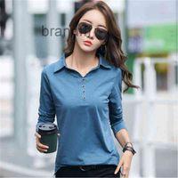 Korean Cotton Button T Shirt Women Autumn Tops 2021 Fashion Long Sleeve T-Shirt Woman Clothes Plus Size Tee Femme ZY5594 Women's