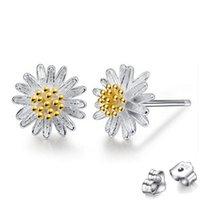 Designer women's earrings 925 silver needle stud sweet temperament small daisy wedding party Jewelry sun flower earring