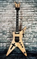 Lavez la croix sud de la croix Drarrell Flame érable de la guitare électrique naturel de la guitare de guitare d'ormeau de l'ormeal, Floyd Rose Tremolo, Hardware noir, pas d'incrustation sur la première frette