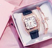 도매 Kemanqi 브랜드 스퀘어 다이얼 다이아몬드 베젤 가죽 밴드 여자 시계 캐주얼 스타일 숙녀 시계 쿼츠 손목 시계