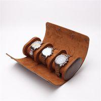시계 상자 케이스 3 슬롯 스토리지 박스 세련된 휴대용 여행 롤 분리형 디스플레이 케이스 손목 시계에 대 한 손목 시계 주머니 홀더 액세서리