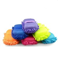 Car Care Microfiber Chenille Wash Sponges pads Mitt Cleaning Washing Glove Microfibre Sponge Cloth Washer EWD6485
