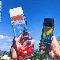 Botella de agua linda té cuadrado leche fruta taza 500 ml para botellas bebidas con cuerda transparente deporte estilo coreano calor resi