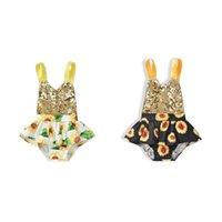 rompers 유행 아기 소녀 bodysuit 유아 여름 창조적 인 해바라기 인쇄 장식 조각 장식 민소매 매달려 목 jumpsuit
