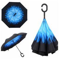 Dobrável longa camada dupla camada invertida guarda-chuva à prova de vento REVERSE C-gancho masculino Guarda-chuvas para carro Seaway FWF9565