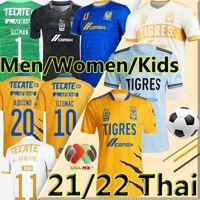 LIGA MX 2021 2022 Tigres Uanl Soccer Jerseys Home Troisième gardien de but Thaufin Gignac Nico Lopez Vargas 21/22 L.Fernandez Pizarro Hommes Femmes Kit Kit de football